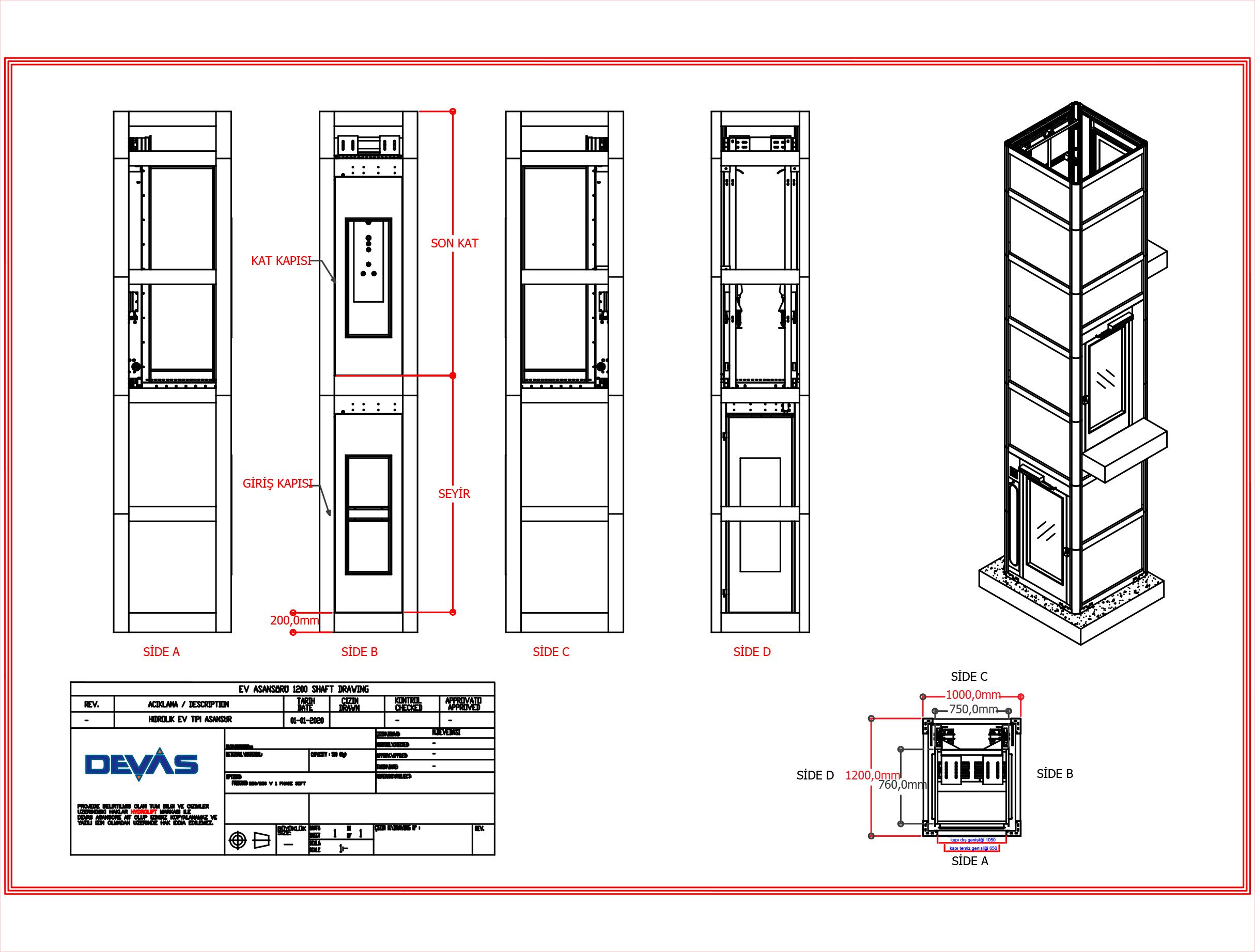 ev tipi asansör ölçüleri